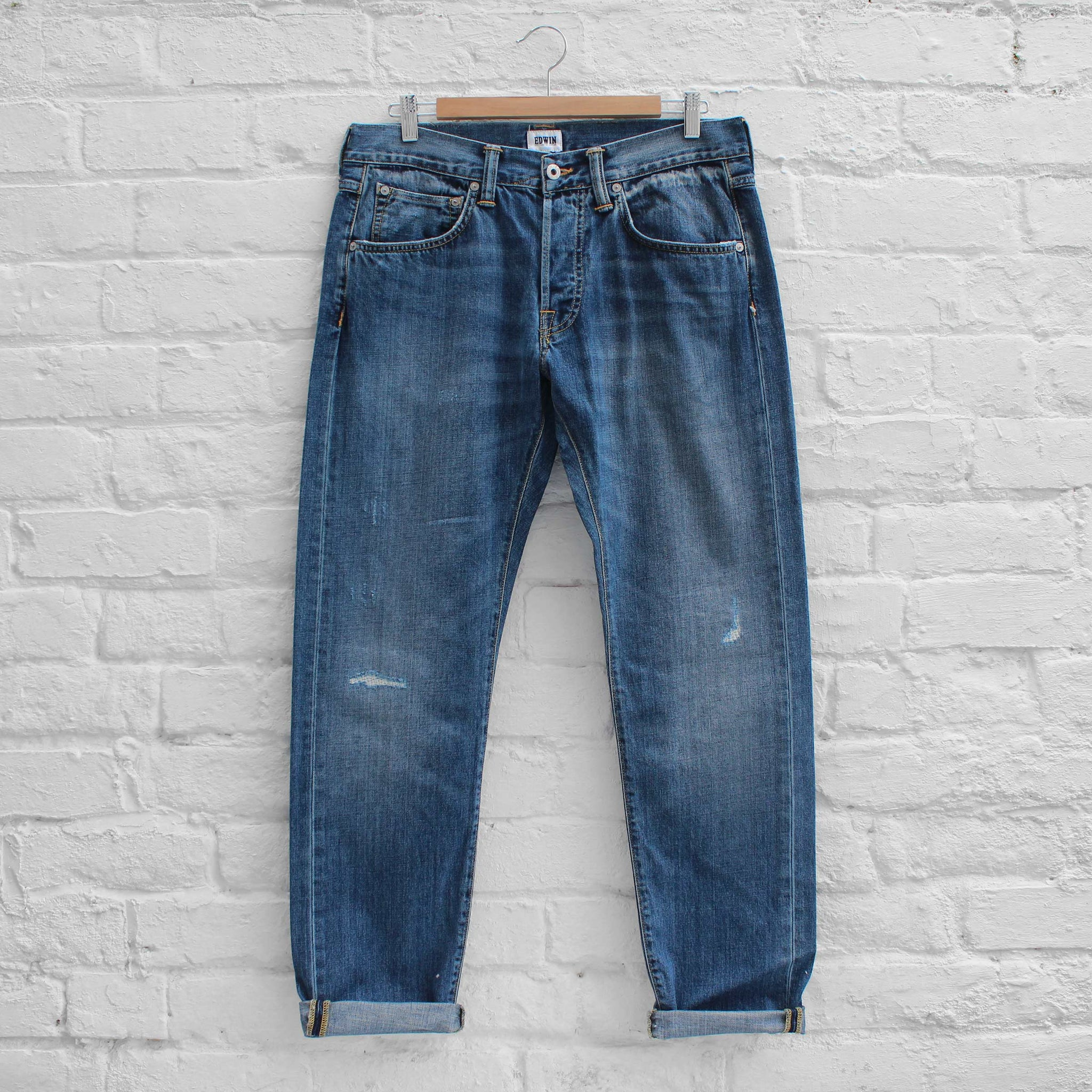 EDWIN ED-55 Jeans  Deep Blue Denim Average Repair Wash