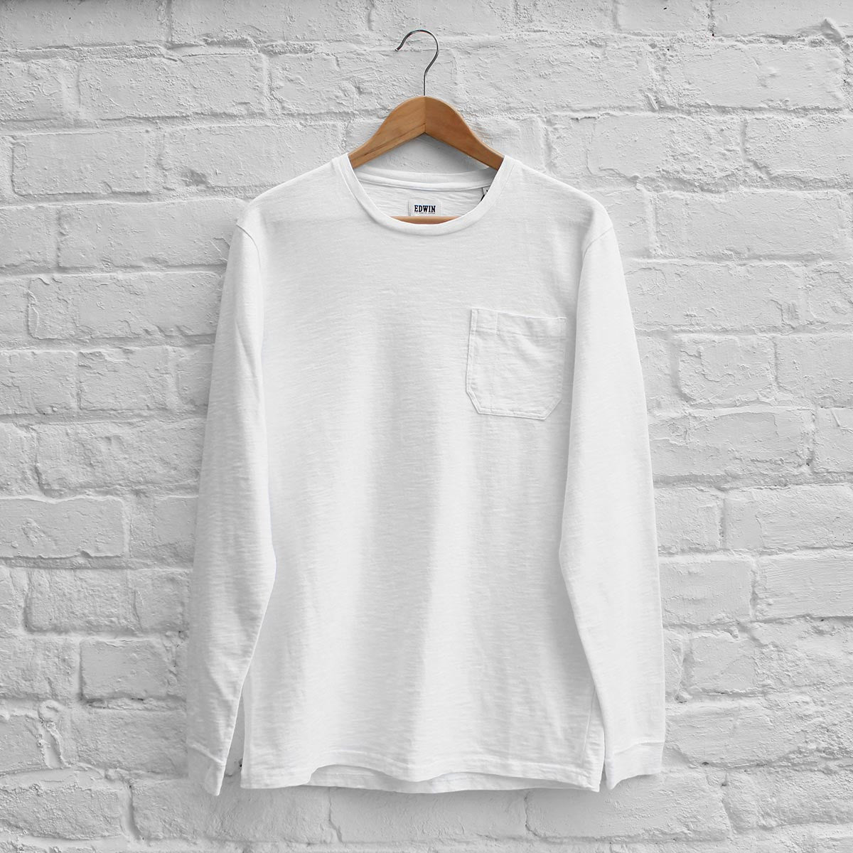 Edwin Marvin Long Sleeve T-Shirt White