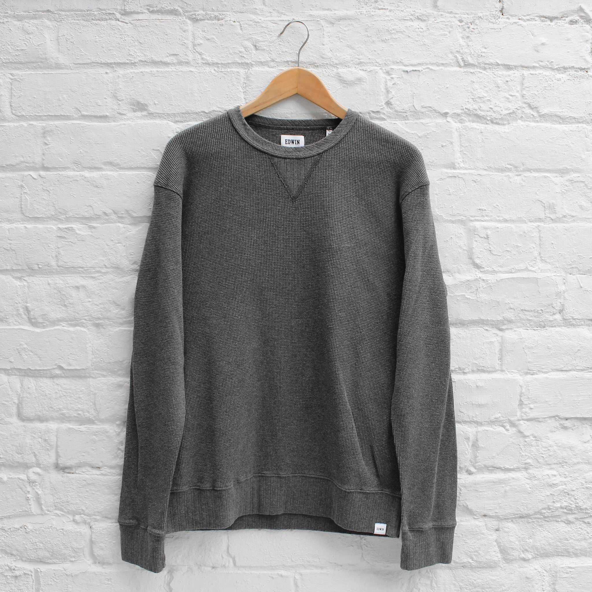 EDWIN Waffle Long Sleeve Crew Dark Grey Heather