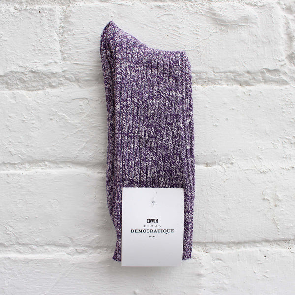 EDWIN x Democratique Rib Socks Dark Purple / Off White