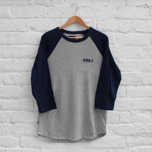 Obey Afton Raglan Tee Grey Heather/Navy