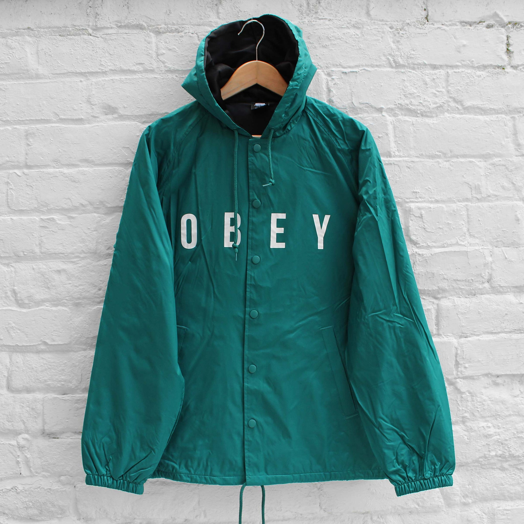 Obey Anyway Hooded Coach Jacket Teal