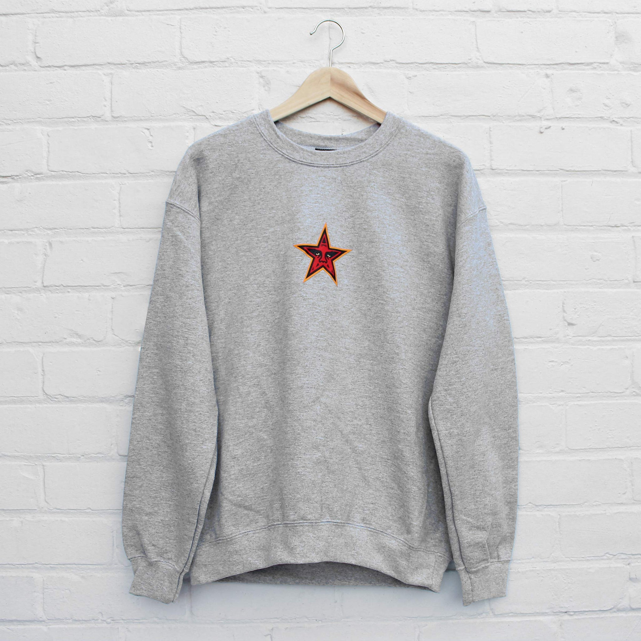 Obey Star Face Sweater Grey Heather