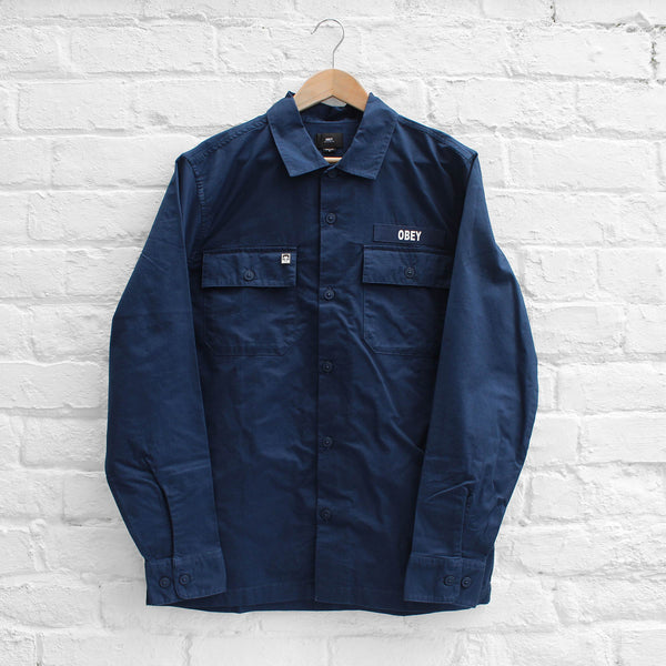 Obey Mission Military Shirt Navy