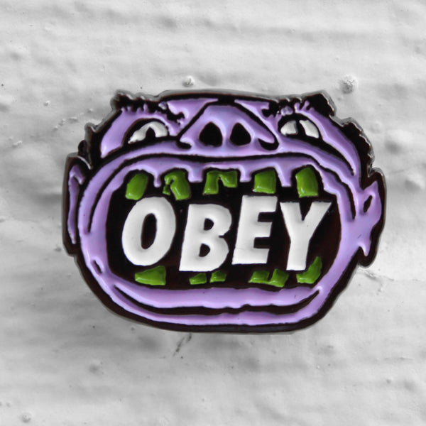 Obey Mouth Pin Badge Purple