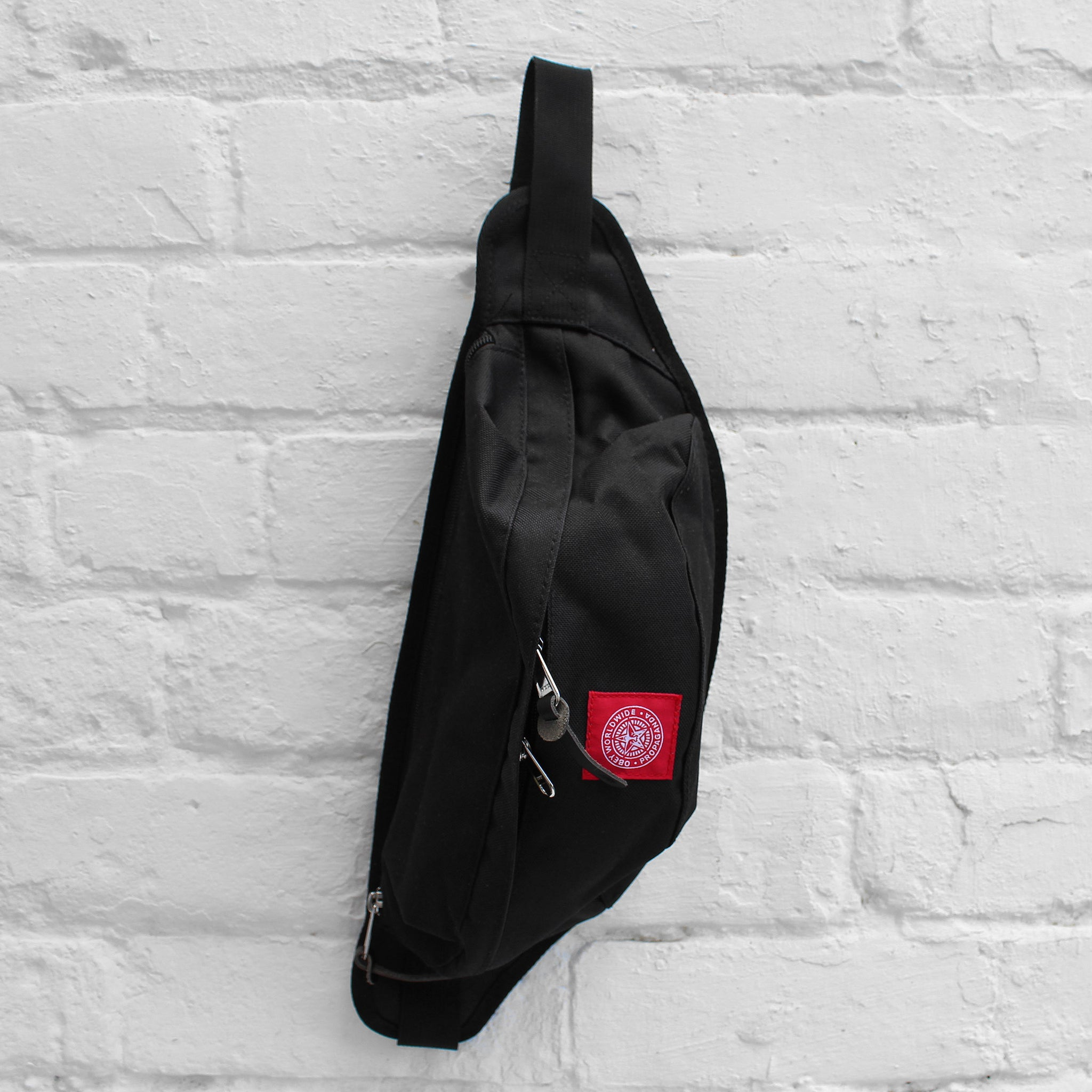 Obey Revolt Red Sling Pack Black