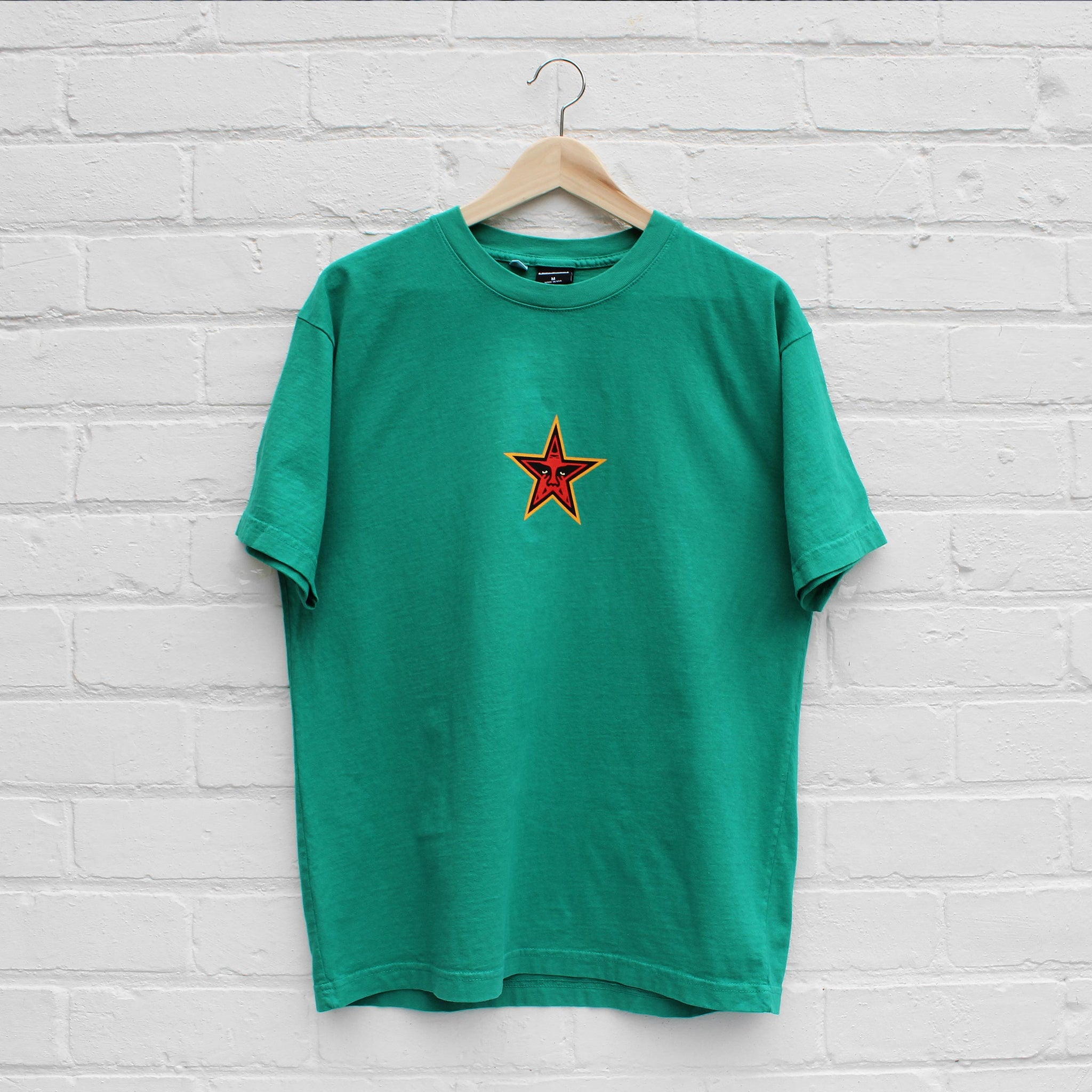 Obey Star Face T-Shirt Emerald