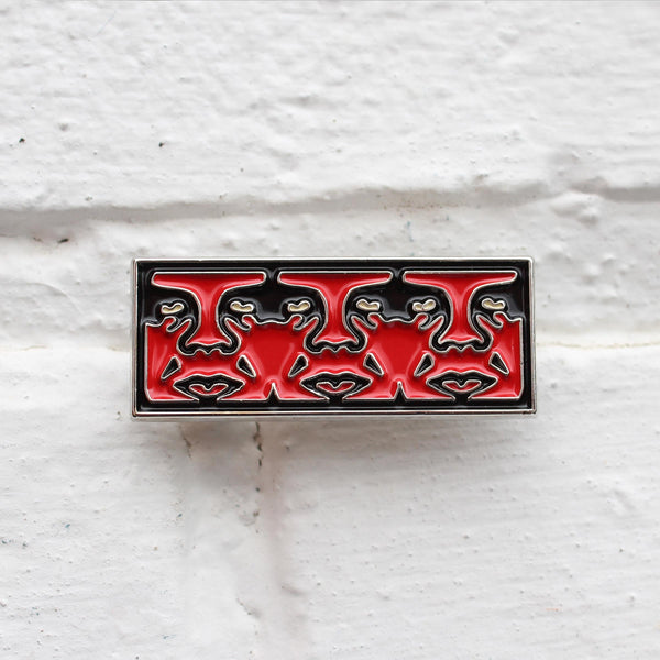 Obey Surveillance Pin Badge Red/Black