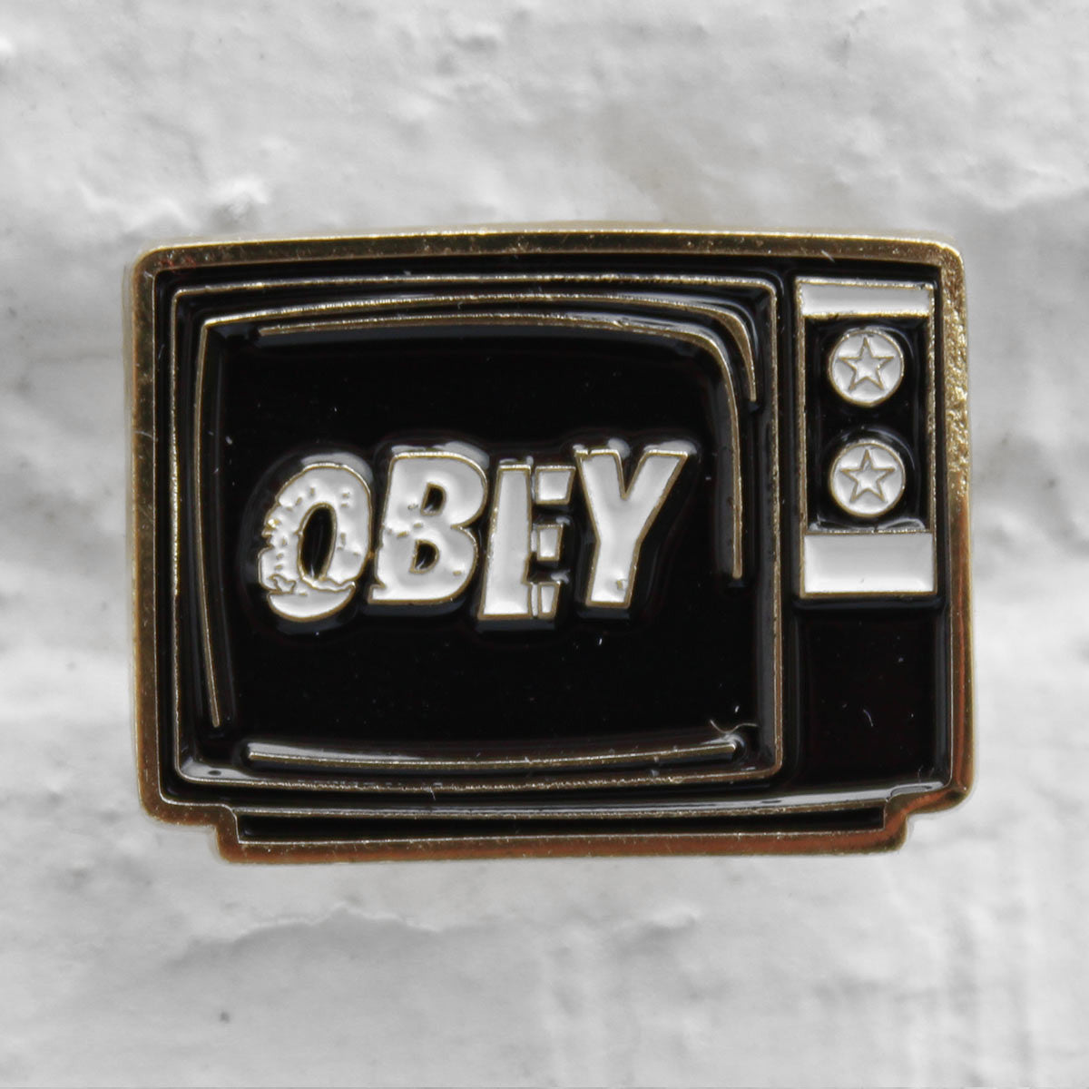 Obey What To Think Pin Badge Black