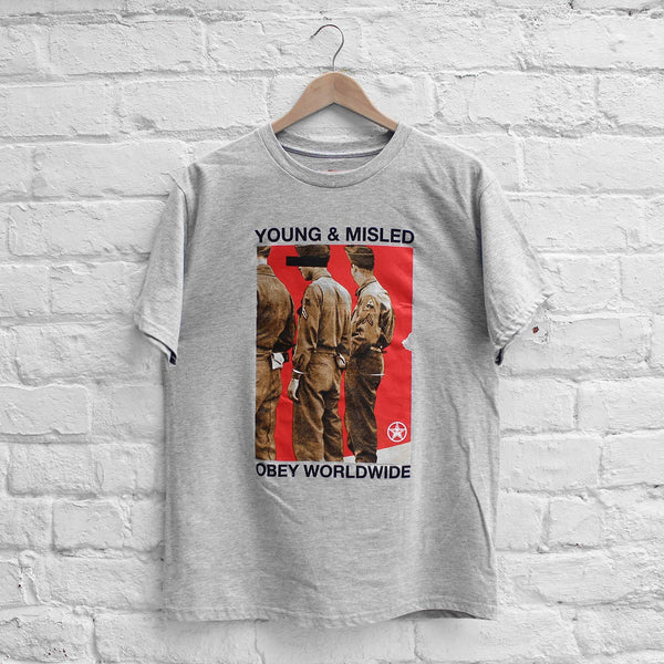 Obey Young & Misled T-Shirt Heather Grey