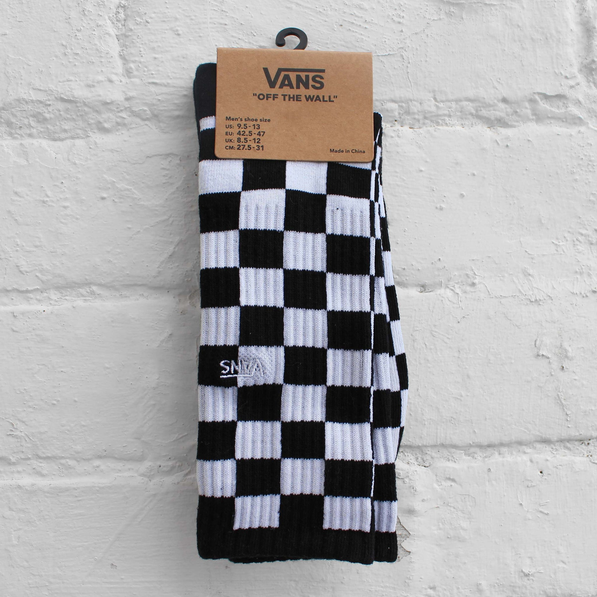 Vans Checkerboard II Crew Socks Black/White