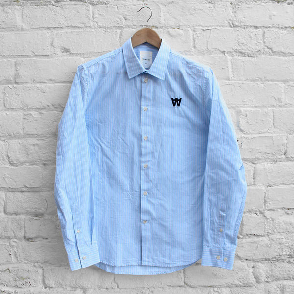 Wood Wood Desmond Shirt Blue Stripe