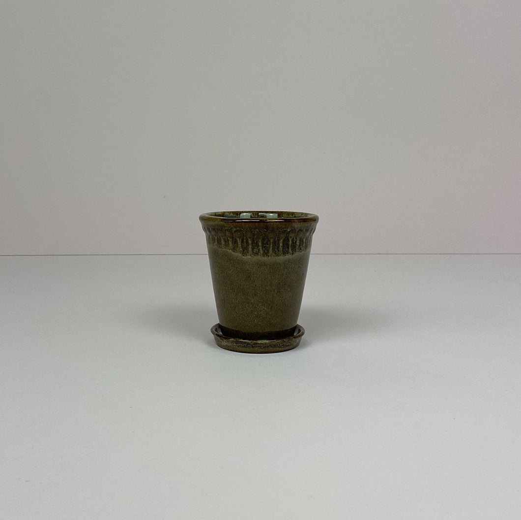 Small Pot & Saucer Brown