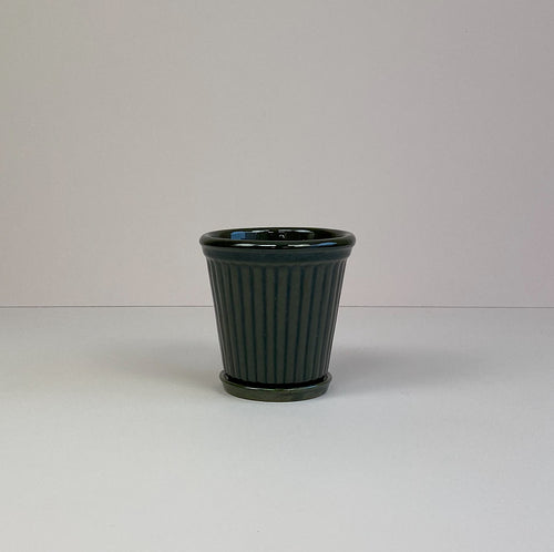 Small Ribbed Pot & Saucer Dark Green