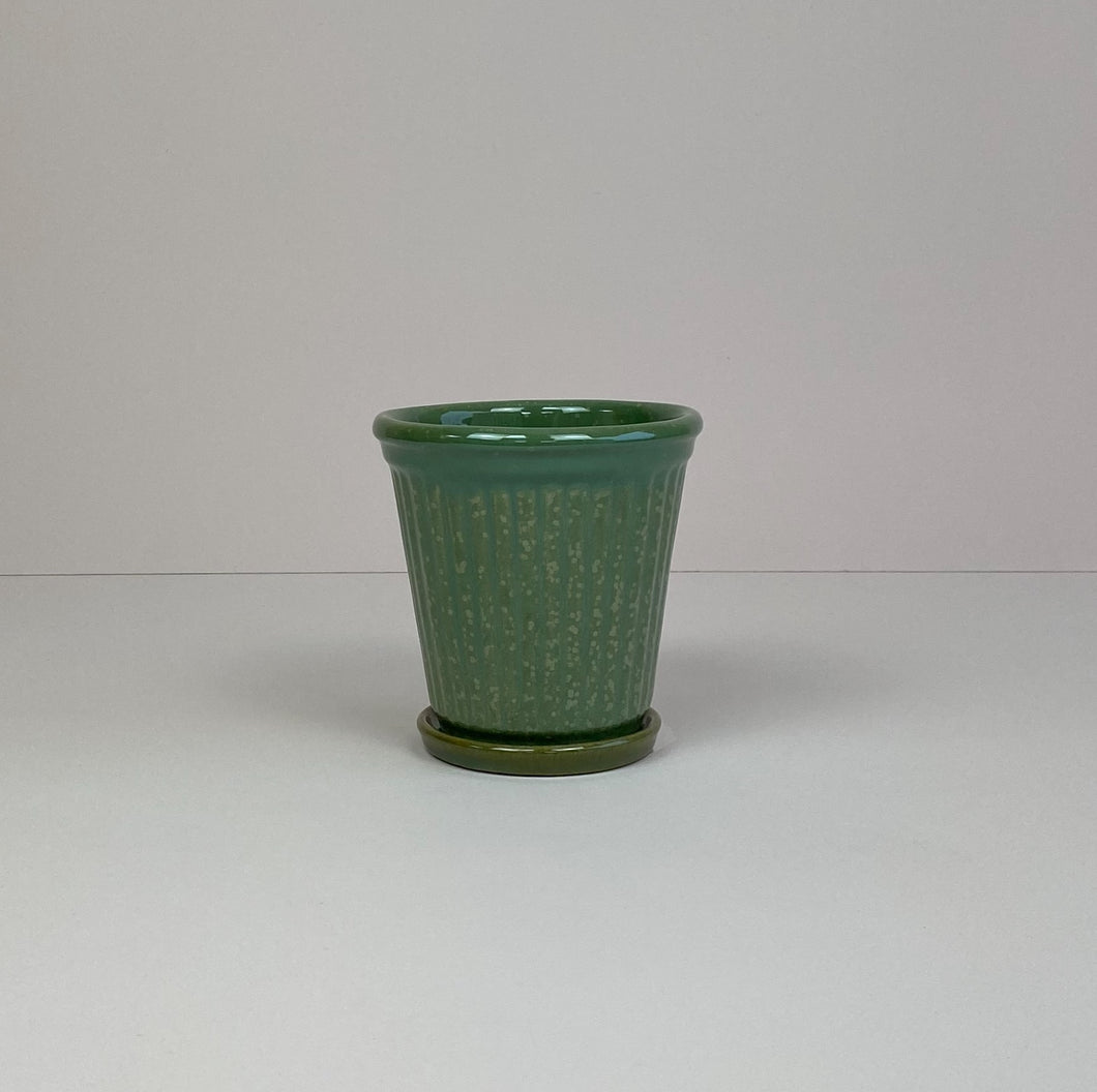 Small Ribbed Pot & Saucer Green