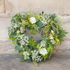 Memories in White Heart Wreath