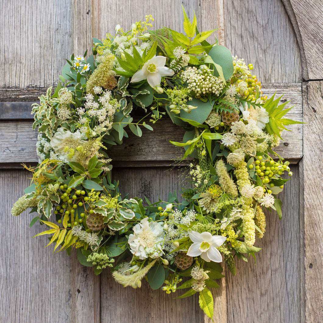 Memories in White Floral Wreath