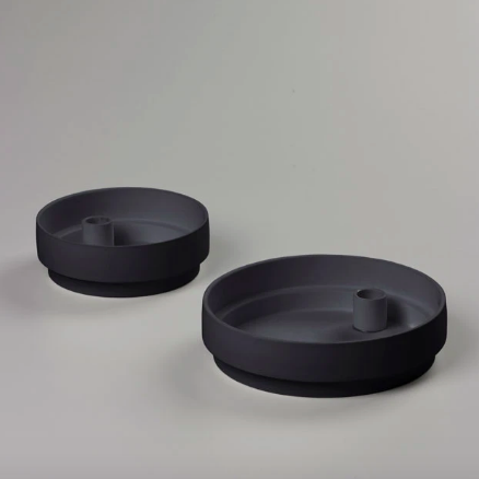 Charcoal Matte Clay Candle Holder