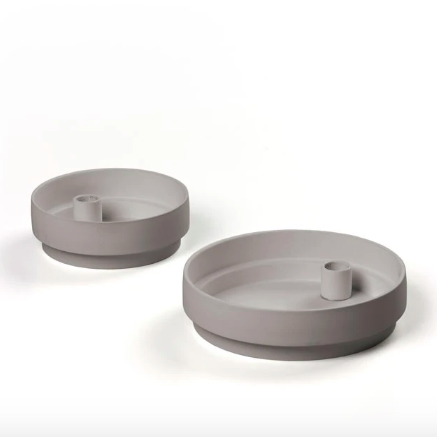 Grey Matte Clay Candle Holder