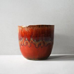 Two-Tone Red Ceramic Plant Pot