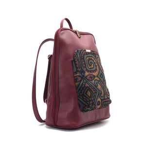 Laptop Burgundy with colourful fabric Backpack/Cross- Code 2003