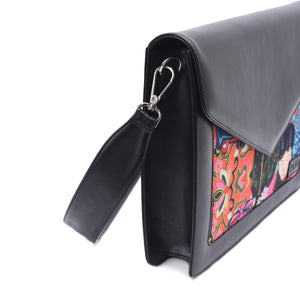 Laptop Bag/Sleeve Black with Multi colour Fabric -Code 101