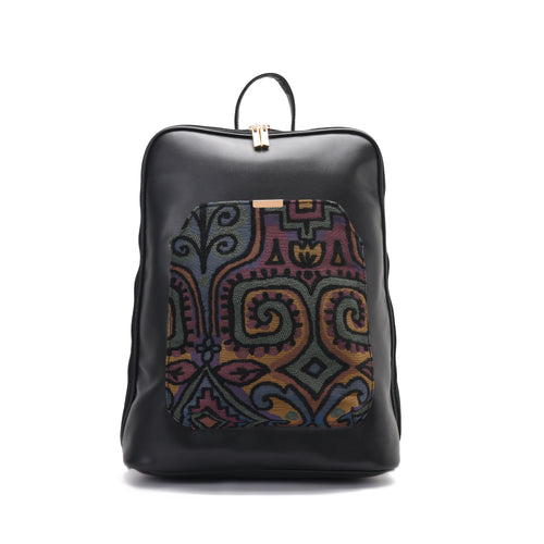 Laptop Black with colourful fabric Backpack/Cross-Code 2001