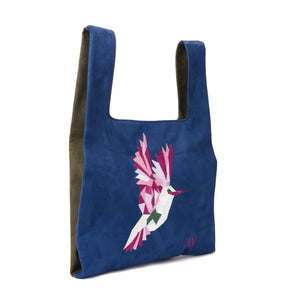 Knot Navy/Olive Handbag with bird embroidery - Code 922
