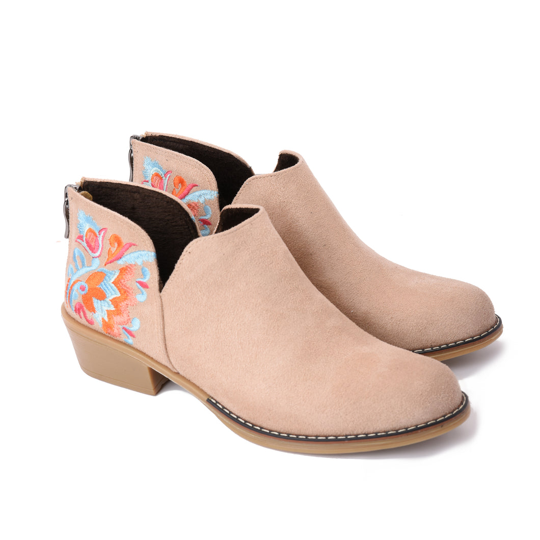 Ankle Beige Boots with Colourful embroideries -6030