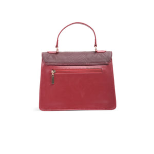 Burgundy Handbag with crocodile Texture leather - Code 900