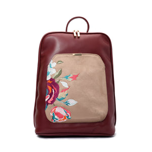 Laptop Burgundy with Beige embroideries fabric Backpack/Cross - Code 2013