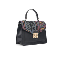 Load image into Gallery viewer, Black Handbag with Colourful fabric-Code 903