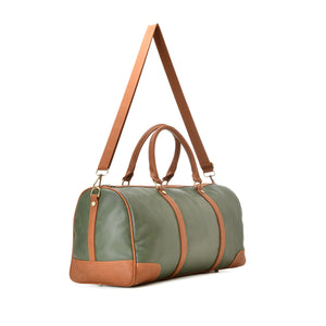 Duffle Bag unisex pine green and brown leather - 302