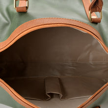 Load image into Gallery viewer, Duffle Bag unisex pine green and brown leather - 302