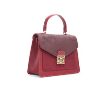 Load image into Gallery viewer, Burgundy Handbag with crocodile Texture leather - Code 900