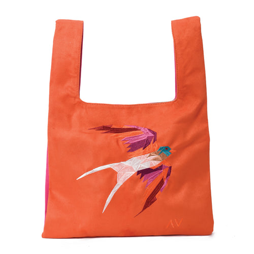 Knot Orange/Pink Handbag with Humming bird embroidery - Code 923