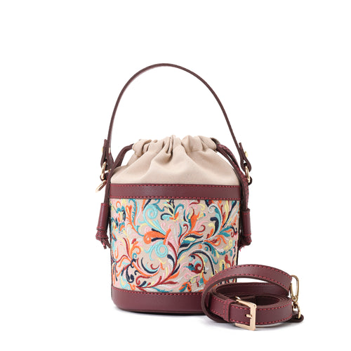 Retro Bucket Baroque Handbag with Burgundy belt -Code 916