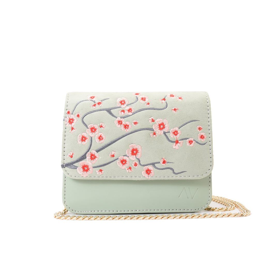 Cherry Blossom Mint Cross/waist Bag - - Code 704