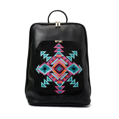 Laptop Black with Black embroideries fabric Backpack/Cross - Code 2010