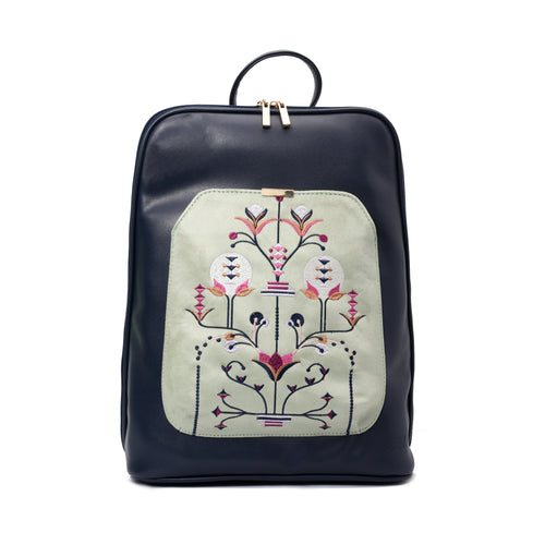 Laptop Navy with Mint green embroideries fabric Backpack/Cross - Code 2011