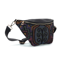 Load image into Gallery viewer, Fanny pack - Black with Multi color fabric Code 1004