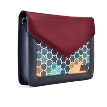 Load image into Gallery viewer, Laptop Bag/Sleeve Navy with Multi colour Fabric with Burgundy suede cover- Code 100