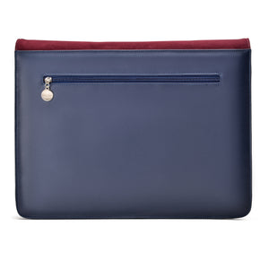 Laptop Bag/Sleeve Navy with Multi colour Fabric with Burgundy suede cover- Code 100