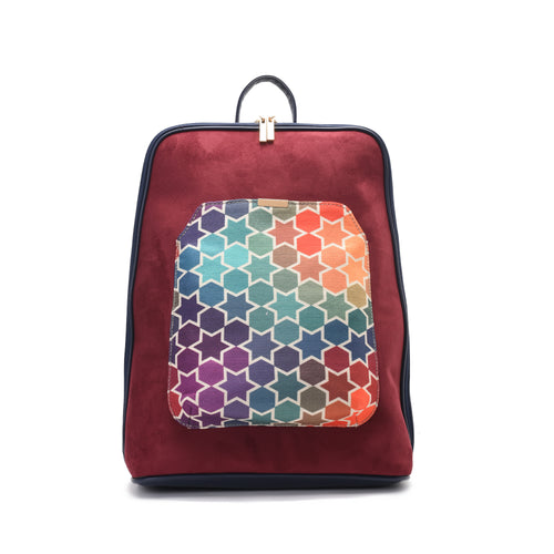 Laptop Navy with colourful fabric Backpack/Cross-Code 2002