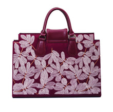 Load image into Gallery viewer, Burgundy Laptop File Bag with embroideries flowers - Code 2201