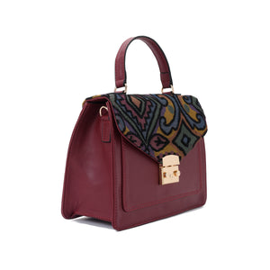 Burgandy Handbag with Colourful fabric- Code 905