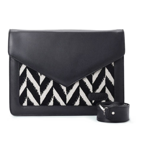 Laptop Bag/Sleeve Black with black and white colour Fabric - Code 106