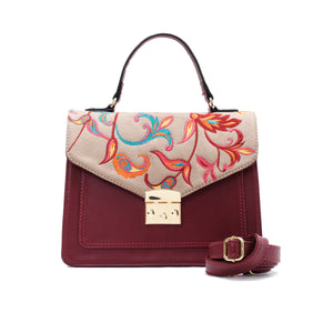 Burgundy Handbag with Colourful Indian  fabric- Code 909