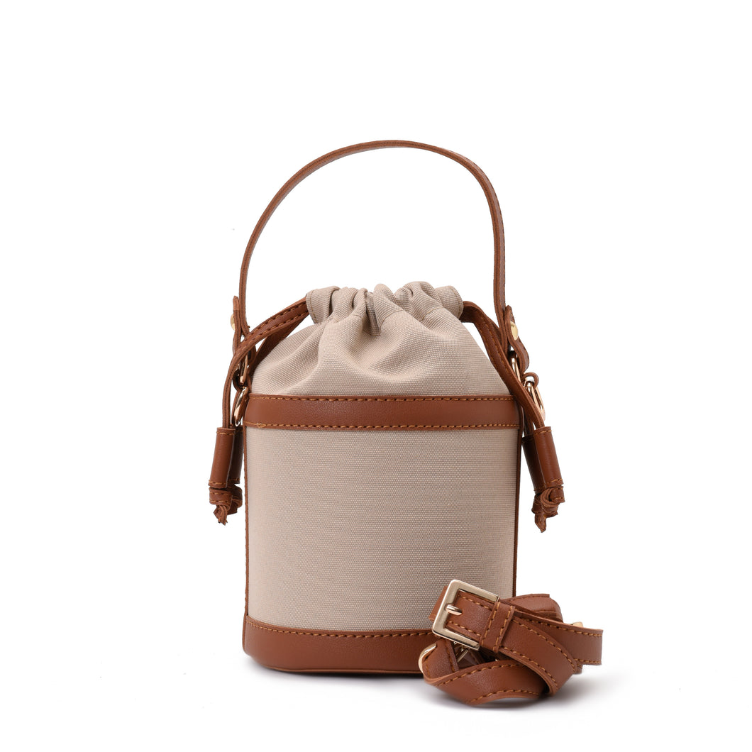 Retro bucket Beige Handbag with Brown belt -Code 910