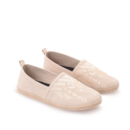 Beige Men Espadrilles with Beige embroideries -7003